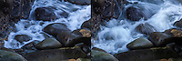 Two images of waves flowing onto rocks at Bean Hollow State Beach, softened and blurred by slow shutter speed.