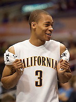 Jerome Randle smile after being taken out of the game. The California Golden Bears defeated the Oregon Duck 90-74 during the Pacific Life Pac-10 Conference Tournament at Staples Center in Los Angeles, California on March 11th, 2010. The Bears will face UCLA tomorrow at 6pm PST.