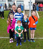 Sunday 7 April 2019 | Carrick W vs Dungannon W<br /> <br /> The Mulligan family with the Rejenerate Cup at Super Sunday Finals Day at Tom Simms Memorial Park, Carrickfergus RFC, County Antrim, Northern Ireland . Photo by John Dickson / DICKSONDIGITAL