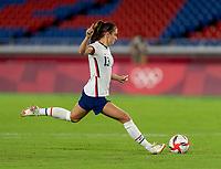 YOKOHAMA, JAPAN - JULY 30: Alex Morgan #13 of the USWNT takes her penalty kick during a game between Netherlands and USWNT at International Stadium Yokohama on July 30, 2021 in Yokohama, Japan.