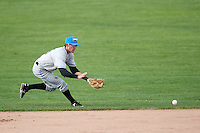 Hudson Valley Renegades second baseman Miles Mastrobuoni (9) fields a ground ball during a game against the Batavia Muckdogs on July 31, 2016 at Dwyer Stadium in Batavia, New York.  Hudson Valley defeated Batavia 4-1.  (Mike Janes/Four Seam Images)