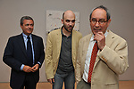 EZIO MAURO, ROBERTO SAVIANO,  TULLIO PERICOLI<br /> MOSTRA TULLIO PERICOLI     ARA PACIS ROMA 2010