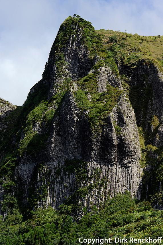 Basaltfelsen Rocha dos Bordoes auf der Insel Flores, Azoren, Portugal