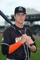 Jupiter Hammerheads third baseman Brian Anderson (9) poses for a photo before a game against the Bradenton Marauders on April 18, 2015 at McKechnie Field in Bradenton, Florida.  Bradenton defeated Jupiter 4-1.  (Mike Janes/Four Seam Images)