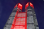 The Tokyo Metropolitan Government Building is lit up in red in Tokyo, Japan on June 4, 2020. Tokyo issued a coronavirus alert for the Japanese capital amid worries of a resurgence of infections only a week after a state of emergency was lifted. (Photo by Naoki Nishimura/AFLO)