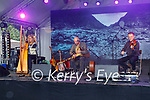 Inish playing on stage at the Anseo open air concert in Pearse Park on Saturday,  l to r: Reidun Lynch (Harp),  Barry Lynch (Banjo) and Brendan O'Sullivan (Fiddle),