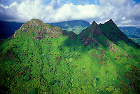 Aerial photo of the peaks of Olomana, landmark on Oahu's windward side near the Koolau mountain range