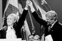 FILE PHOTO : Pauline Marois lors de la Victoire de Pierre-Marc Johnson lors du vote final de la course à la chefferie du Parti Québécois, le 29 septembre 1985<br /> <br /> PHOTO : Denis Alix -  Agence Quebec Presse