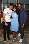 Anthony Ramos, Nicolette Robinson and Leslie Odom Jr backstage after Nicolette Robinson makes her Broadway debut in 'Waitress' on September 4, 2081 at the Brooks Atkinson Theatre in New York City.
