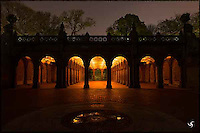 Bethesda Arcade at night, Central Park, NYC