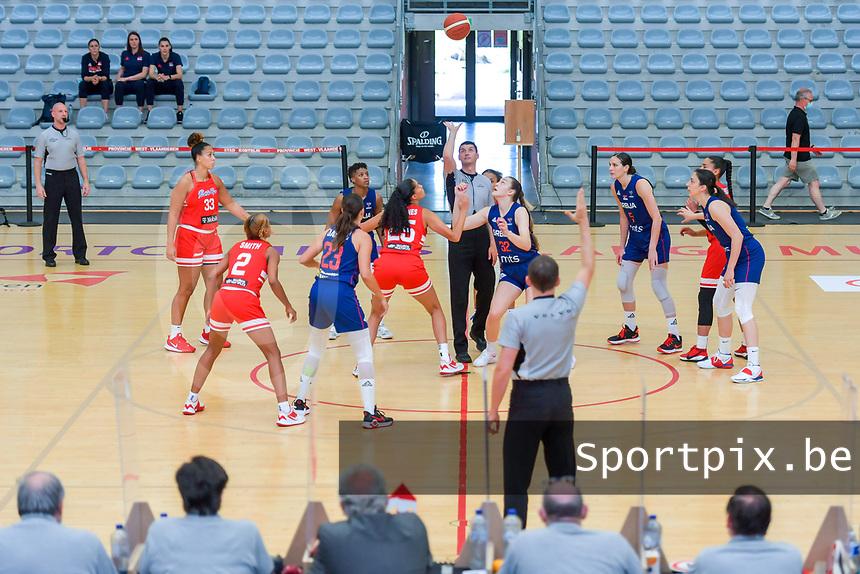 Isalys Quinones (25) of Puerto Rico and Angela Dugalic (32) of Serbia starting the basketball game between the national teams of Puerto Rico and Serbia on Sunday 30 th of May 2021 in Kortrijk , Belgium . PHOTO SPORTPIX.BE | SPP | STIJN AUDOOREN