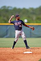 GCL Twins second baseman Estamy Urena (15) throws to first base during a game against the GCL Rays on August 9, 2018 at Charlotte Sports Park in Port Charlotte, Florida.  GCL Twins defeated GCL Rays 5-2.  (Mike Janes/Four Seam Images)