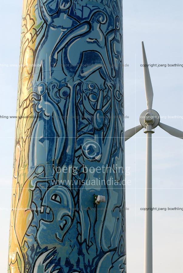 Deutschland DEU, Windpark mit von Kuenstler bemalten Enercon E-66 Windraeder in Luebow bei Wismar / GERMANY windmill enercon with art painting of artist near Wismar