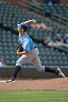 Wilmington Blue Rocks starting pitcher Corey Ray (26) in action against the Winston-Salem Dash at BB&T Ballpark on June 5, 2016 in Winston-Salem, North Carolina.  The Dash defeated the Blue Rocks 4-0.  (Brian Westerholt/Four Seam Images)
