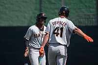 San Francisco Giants infielder Alexander Canario (8) is congratulated by Jacob Gonzalez (41) after scoring a run during a Minor League Spring Training game against the Cleveland Indians at the San Francisco Giants Training Complex on March 14, 2018 in Scottsdale, Arizona. (Zachary Lucy/Four Seam Images)