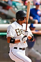 May 19, 2009:  Freddy Sandoval of the Salt Lake Bees, Pacific Cost League Triple A affiliate of the Los Angeles (Anaheim) Angles, during a game at the Spring Mobile Ballpark in Salt Lake City, UT.  Photo by:  Matthew Sauk/Four Seam Images