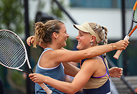 Amstelveen, Netherlands, 10 Juli, 2021, National Tennis Center, NTC, Amstelveen Womans Open, Doubles final: Suzan Lamens (NED) and Quirine Lemoine (NED) (L) in jubilation after they won the final<br /> Photo: Henk Koster/tennisimages.com