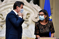 The Italian Premier Giuseppe Conte and the Minister of Transports Paola De Micheli wearing face masks during the press conference at Palazzo Chigi, about the measures to contrast the Covid-19 pandemic at the reopening of the schools on September 14th.<br /> Rome (Italy), September 9th 2020<br /> Photo Pool Paolo Tre Insidefoto
