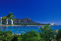 Waikiki beach with Diamond Head and palms