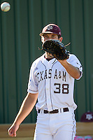 Texas A&M Aggie starting pitcher Michael Wacha #38 warms up prior to the NCAA Tournament Regional baseball game against the Dayton Flyers on June 1, 2012 at Blue Bell Park in College Station, Texas. The Aggies defeated the Flyers 4-1. (Andrew Woolley/Four Seam Images).