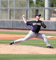 Veteran major league pitcher Roy Oswalt appears in a Colorado Rockies extended spring training against the San Francisco Giants at Salt River Fields on May 18, 2013 in Scottsdale, Arizona (Bill Mitchell)