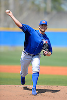 Toronto Blue Jays pitcher Josh Johnson #55 delivers a pitch during a minor league Spring Training game against the New York Yankees at the Englebert Complex on March 19, 2013 in Dunedin, Florida.  (Mike Janes/Four Seam Images)