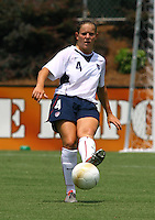 Cat Whitehill kicks the ball out of the back. The USA defeated Canada 2-0 at SAS Stadium in Cary, NC on Sunday, July 30, 2006.