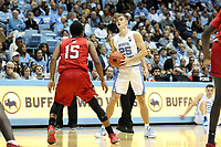 CHAPEL HILL, NC - NOVEMBER 01: Caleb Ellis #25 of the University of North Carolina holds the ball during a game between Winston-Salem State University and University of North Carolina at Dean E. Smith Center on November 01, 2019 in Chapel Hill, North Carolina.