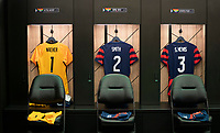 AUSTIN, TX - JUNE 16: Nike jerseys sit in the USWNT locker room before a game between Nigeria and USWNT at Q2 Stadium on June 16, 2021 in Austin, Texas.