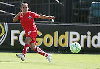 Lisa DeVanna kicks the ball. FC Gold Pride defeated Washington Freedom 3-2 at Buck Shaw Stadium in Santa Clara, California on August 1, 2009.