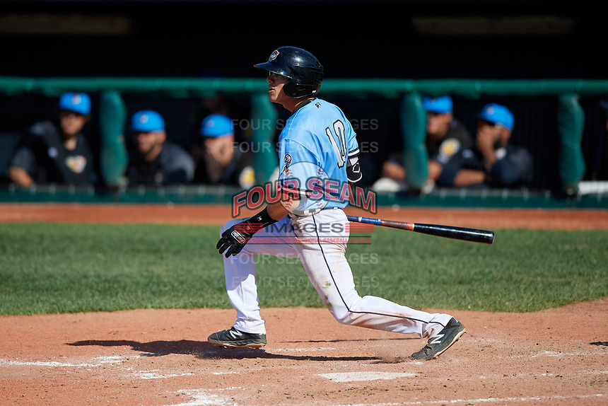 Erie SeaWolves Cole Peterson (10) at bat during an Eastern League game against the Akron RubberDucks on June 2, 2019 at UPMC Park in Erie, Pennsylvania.  Erie defeated Akron 8-5 in eleven innings in the second game of a doubleheader.  (Mike Janes/Four Seam Images)