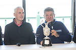 The Senior Open Championship Presented by Rolex Media Day.<br /> Welsh golfer Phillip Price and defending Champion Paul Broadhurst speaking to the media.<br /> Royal Porthcawl<br /> 26.04.17<br /> ©Steve Pope - Sportingwales