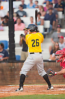 Jose Salazar (26) of the Bristol Pirates at bat against the Johnson City Cardinals at Howard Johnson Field at Cardinal Park on July 6, 2015 in Johnson City, Tennessee.  The Cardinals defeated the Pirates 8-2 in game two of a double-header. (Brian Westerholt/Four Seam Images)