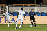 SAN JOSE, CA - SEPTEMBER 19: Tommy Thompson #22 of the San Jose Earthquakes during a game between Portland Timbers and San Jose Earthquakes at Earthquakes Stadium on September 19, 2020 in San Jose, California.
