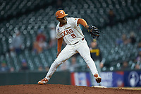 Texas Longhorns relief pitcher Kamron Fields (8) in action against the Missouri Tigers in game eight of the 2020 Shriners Hospitals for Children College Classic at Minute Maid Park on March 1, 2020 in Houston, Texas. The Tigers defeated the Longhorns 9-8. (Brian Westerholt/Four Seam Images)