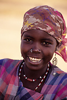 Near Zinder, Niger, West Africa.  Young Hausa Woman with Nose Ring.