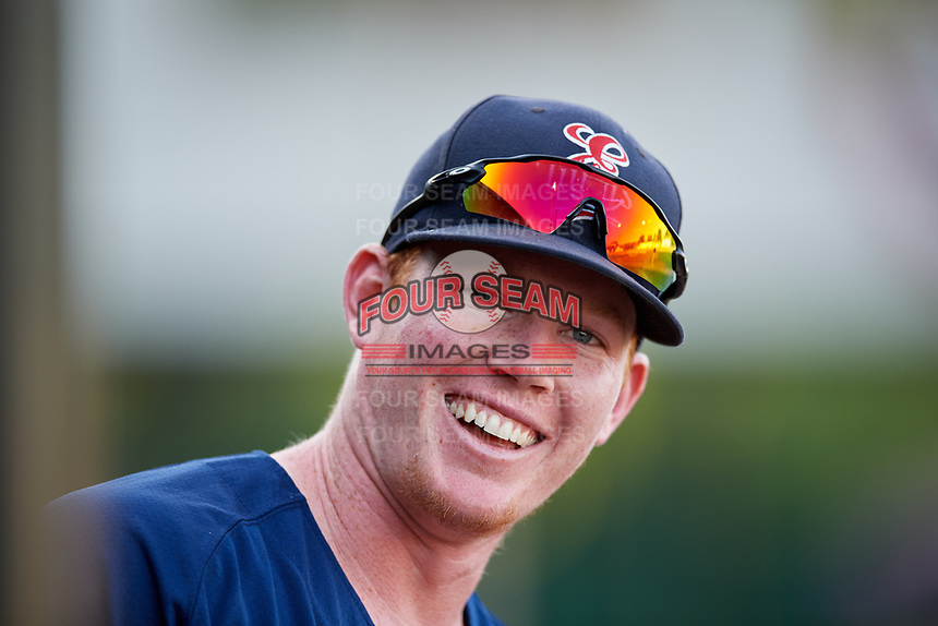 Elizabethton Twins Albee Weiss (41) in the dugout during a game against the Bristol Pirates on July 28, 2018 at Joe O'Brien Field in Elizabethton, Tennessee.  Elizabethton defeated Bristol 5-0.  (Mike Janes/Four Seam Images)