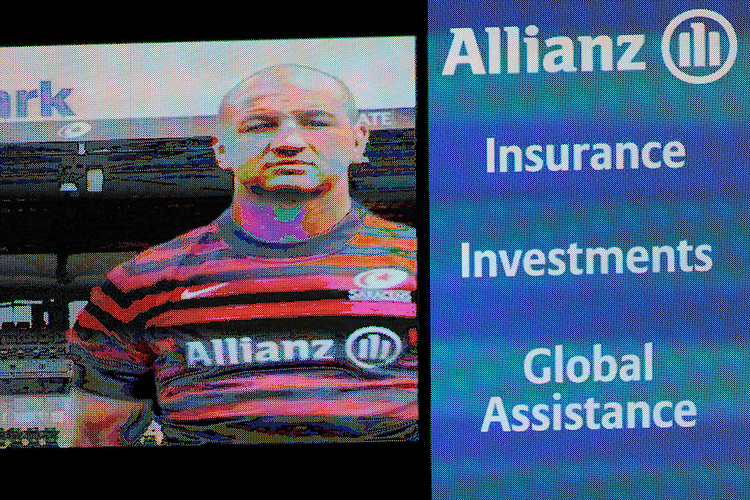 20131018 Copyright onEdition 2013©<br /> Free for editorial use image, please credit: onEdition<br /> <br /> Allianz signage on the large screen during the Heineken Cup match between Saracens and Stade Toulousain at Wembley Stadium on Friday 18th October 2013 (Photo by Rob Munro)<br /> <br /> For press contacts contact: Sam Feasey at brandRapport on M: +44 (0)7717 757114 E: SFeasey@brand-rapport.com<br /> <br /> If you require a higher resolution image or you have any other onEdition photographic enquiries, please contact onEdition on 0845 900 2 900 or email info@onEdition.com<br /> This image is copyright onEdition 2013©.<br /> This image has been supplied by onEdition and must be credited onEdition. The author is asserting his full Moral rights in relation to the publication of this image. Rights for onward transmission of any image or file is not granted or implied. Changing or deleting Copyright information is illegal as specified in the Copyright, Design and Patents Act 1988. If you are in any way unsure of your right to publish this image please contact onEdition on 0845 900 2 900 or email info@onEdition.com