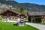 Austria, Tyrol, Kramsach: open-air museum Tyrolean Farmhouses - 'Hoerl' farmhouse and barn | Oesterreich, Tirol, Wanderdorf Kramsach: Freilichtmuseum Tiroler Bauernhoefe - Hoerl Hof und Scheune