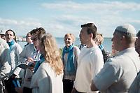 Estland, Insel Naissaar, Choere (hier Chor Sireen) und Zuhoerer,  Nargen Chor-Festival <br /> <br /> Engl.: Europe, the Baltic, Estonia, Naissaar island, first Naissaar Song Celebration, song festival, culture, choirs, visitors, 28 June 2014<br /> <br /> || Das Event dient fuer viele als Einstimmung auf das grosse Saengerfest in Tallinn.