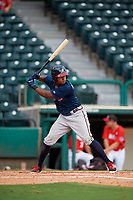 Atlanta Braves Braulio Vasquez (14) at bat during a Florida Instructional League game against the Canadian Junior National Team on October 9, 2018 at the ESPN Wide World of Sports Complex in Orlando, Florida.  (Mike Janes/Four Seam Images)