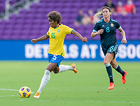 ORLANDO, FL - FEBRUARY 18: Chu #15 of Brazil passes the ball during a game between Argentina and Brazil at Exploria Stadium on February 18, 2021 in Orlando, Florida.