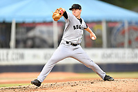 Augusta GreenJackets starting pitcher Caleb Baragar (33) delivers a pitch during a game against the Asheville Tourists on Crash Davis Night at McCormick Field on June 16, 2018 in Asheville, North Carolina. The GreenJackets defeated the Tourists 7-6. (Tony Farlow/Four Seam Images)