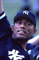 Mariano Rivera of the New York Yankees during a 2000 season MLB game at Angel Stadium in Anaheim, California. (Larry Goren/Four Seam Images)
