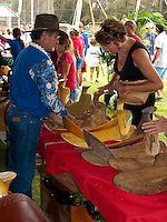 Saddle Maker, Paniolo at King Kamehameha Day Parade Festival, North Kohala, Big Island of Hawaii, Kapa'au Town.