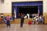 ELEMENTARY SCHOOL PLAY REHEARSAL IN THE MULTI-PURPOSE ROOM. ELEMENTARY SCHOOL STUDENTS. OAKLAND CALIFORNIA USA CARL MUNCK ELEMENTARY SCHOOL.