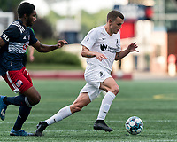 FOXBOROUGH, MA - JULY 25: USL League One (United Soccer League) match. Ethan Vanacore-Decker #7 of Union Omaha at midfield during a game between Union Omaha and New England Revolution II at Gillette Stadium on July 25, 2020 in Foxborough, Massachusetts.
