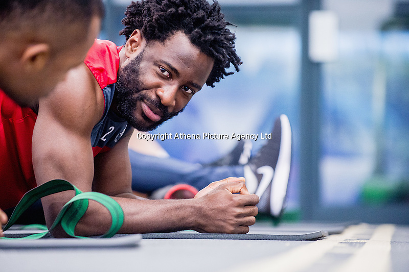 Wilfried Bony exercises in the gym during the Swansea City training session at The Fairwood training Ground, Swansea, Wales, UK. Thursday 16 November 2017