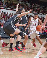 Stanford's Amber Orrange, drives the ball down court during Stanford women's basketball  vs Washington State at Maples Pavilion, Stanford, California on March 1, 2014.