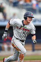 Fort Myers Miracle outfielder Max Kepler (23) runs to first during a game against the Charlotte Stone Crabs on April 16, 2014 at Charlotte Sports Park in Port Charlotte, Florida.  Fort Myers defeated Charlotte 6-5.  (Mike Janes/Four Seam Images)